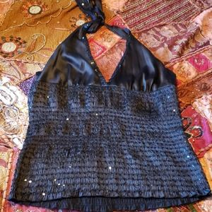 Bebe black silky and sequin holiday halter top!